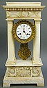 FRENCH EMPIRE CARVED MARBLE PORTICO CLOCK. 19th