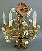 GILT METAL CHANDELIER.  With porcelain flowers.