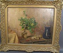 "FERDINAND G.W. OLDEWELT. (Dutch, 1857-1935). ""Still life in the Artist's Studi"