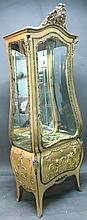 VERNIS MARTIN TYPE FRENCH STYLE CURIO CABINET.  Ormolu mounted on all upper edge