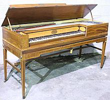 ANTIQUE PIANO FORTE.  Ca. 1810.  Mahogany with tumbling block edge inlay, curly