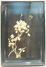 CHINESE CARVED SHELL AND BONE FLORAL RELIEF DIORAMA PANEL.  In a deep shadow box