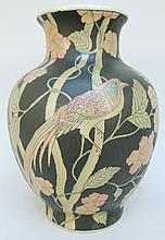 CHINESE EXOTIC BIRD DECORATED VASE.  Black ground with pastel color birds among