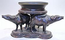 CHINESE CARVED TEAKWOOD BASE.  For a vase or statue designed around 3 intricatel