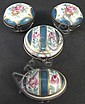 FOUR PORCELAIN HAND PAINTED HINGED BOXES. Probably