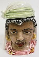 GERMAN TOBACCO JAR.  With a Moorish lady.  Lidded.  5 1/2