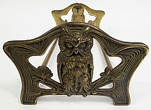 ART DECO SLIDING BOOKENDS.  With owls.  12