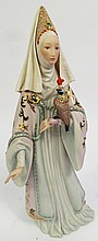 CYBIS PORCELAIN FIGURE.  Of a midieval noble lady in a bejewelled gown with her  hunting falcon.  #448.  15