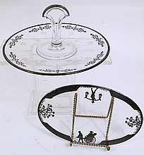 SILVER DEPOSIT OVAL GLASS TRIVET AND A PASTRY TRAY.
