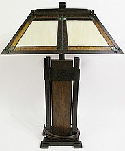 ARTS AND CRAFTS STYLE LAMP.  18