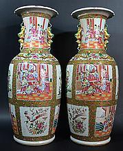 Pair Chinese 19 C. Rose Medallion Vases