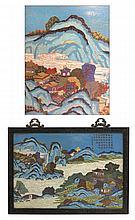 Large & Fine Chinese Zitan & Cloisonné Plaque