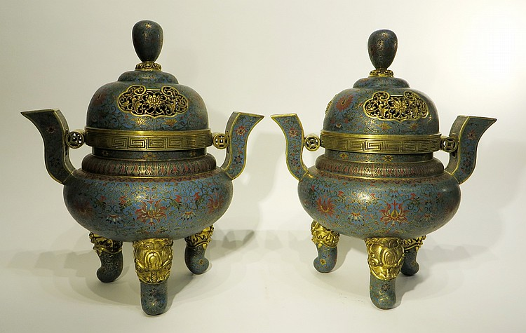 PAIR OF MONUMENTAL CHINESE CLOISONNE CENSERS