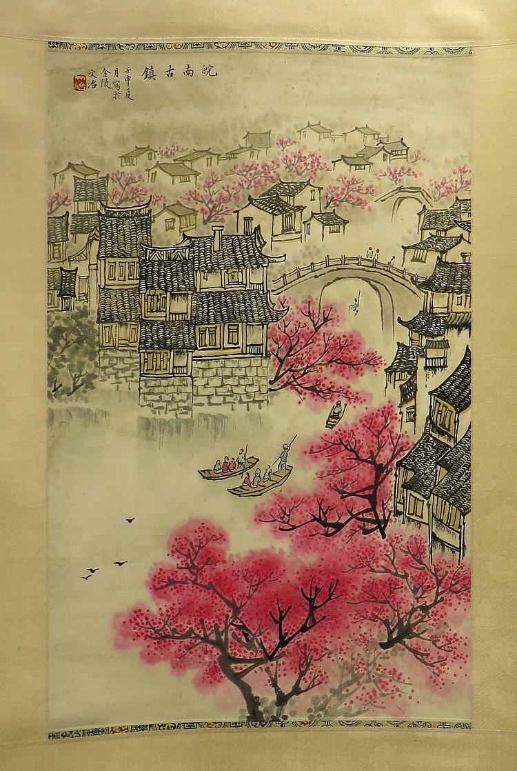 CHINESE CHERRY BLOSSOMS MARKED SONG WENZHI
