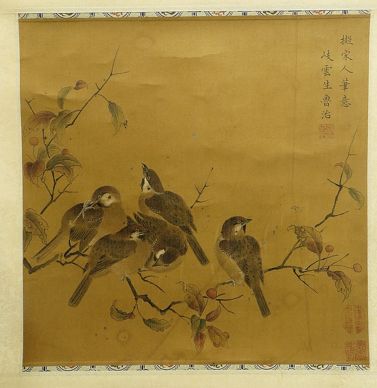 CHINESE SONG DYNASTY SILK SCROLL OF BIRDS