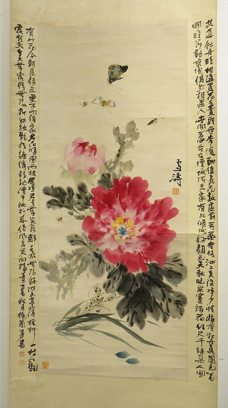 WANG XUETAO (1903-1984) PEONIES WATERCOLOR SCROLL