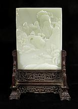 CHINESE WHITE JADE TABLE SCREEN ON STAND