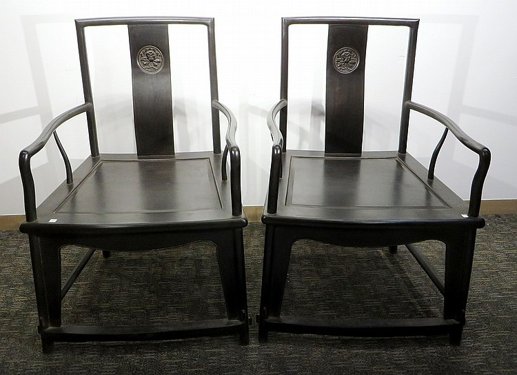 PAIR OF CHINESE ZITAN FAN CHAIRS