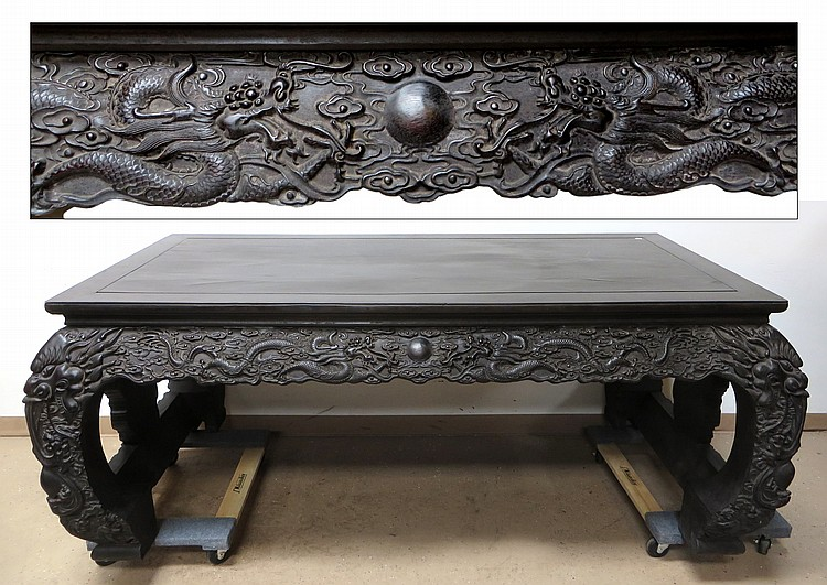 LARGE CHINESE ZITAN CONSOLE TABLE