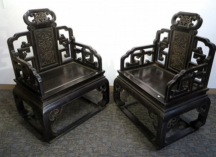 PAIR OF CHINESE ZITAN ARM CHAIRS