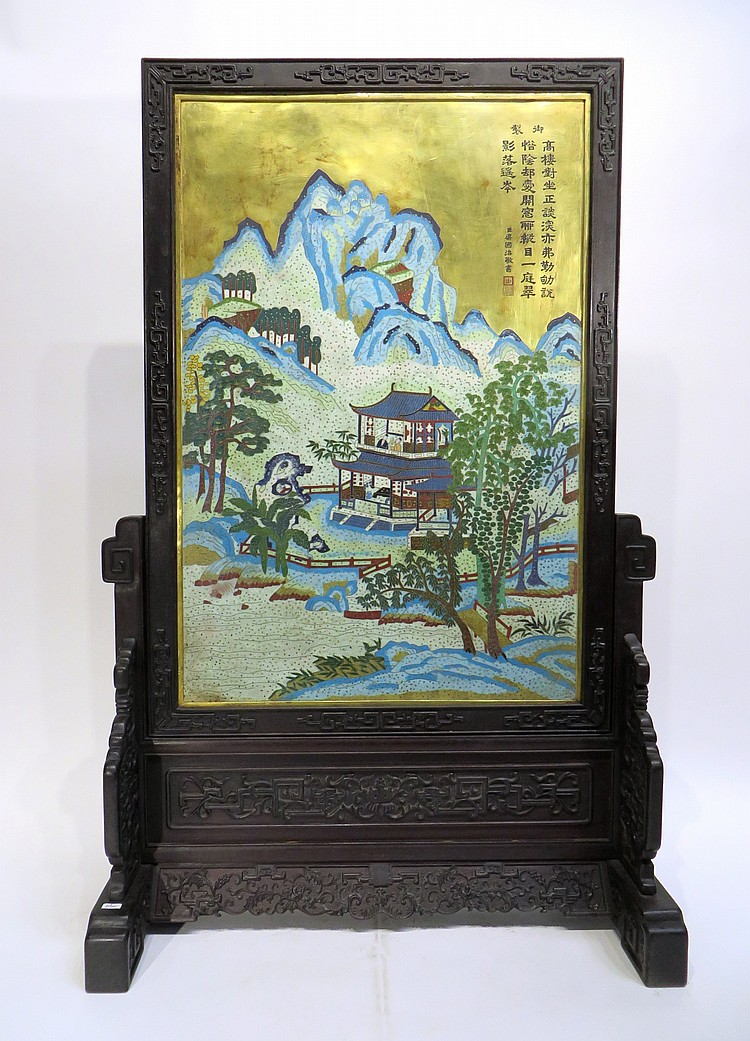 RARE CHINESE CLOISONNE TABLE SCREEN