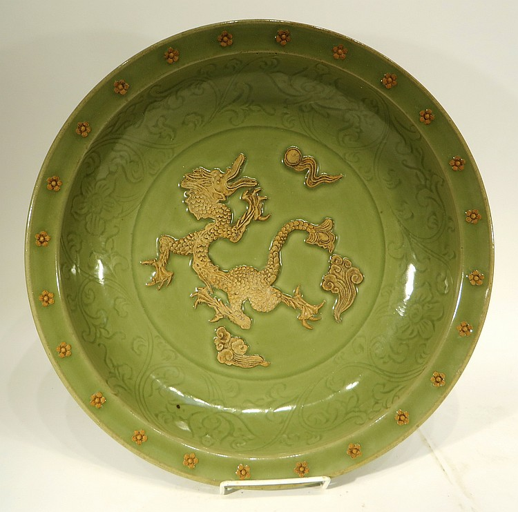 CHINESE CELADON PORCELAIN DRAGON BOWL
