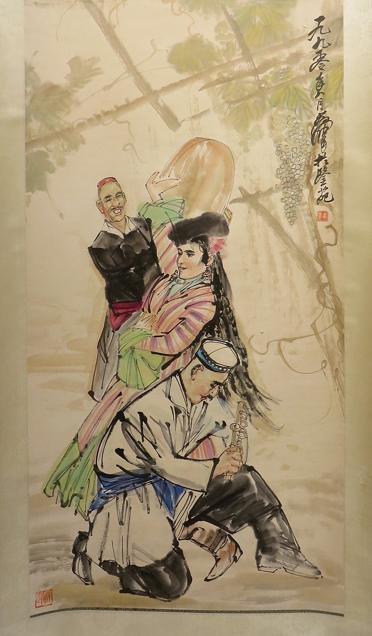SCROLL OF DANCER SIGNED HUANG ZHOU (1925-1997)