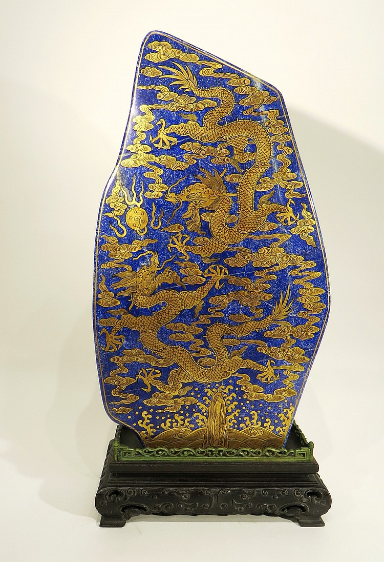 CHINESE CARVED LAPIS LAZULI