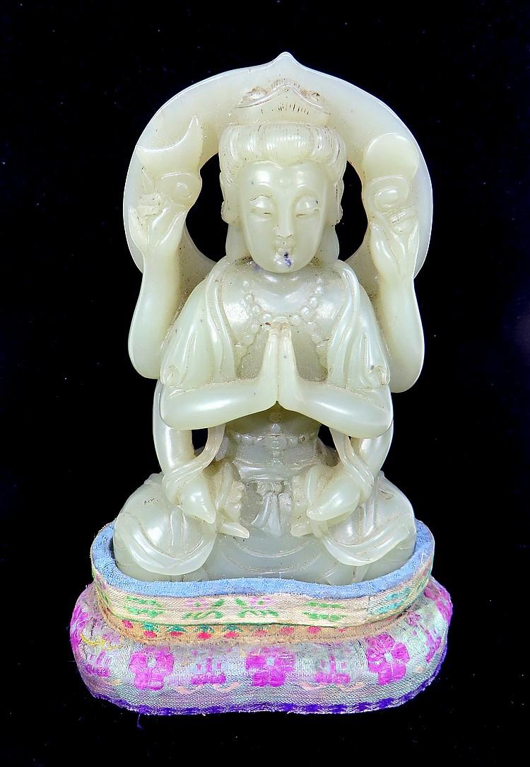 CHINESE WHITE JADE BUDDHA
