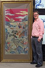CHINESE KESI EMBROIDERY OF VILLAGE SCENE IN FRAME
