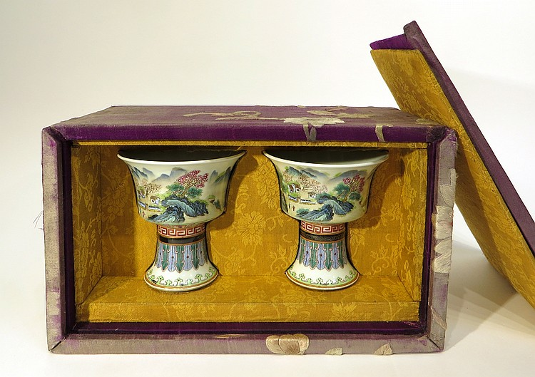 PAIR OF QIAN LONG HIGH CUPS IN ORIGINAL BOX