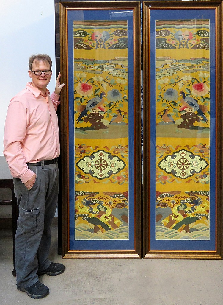 PAIR OF CHINESE KESI EMBROIDERIES ON GOLD SILK