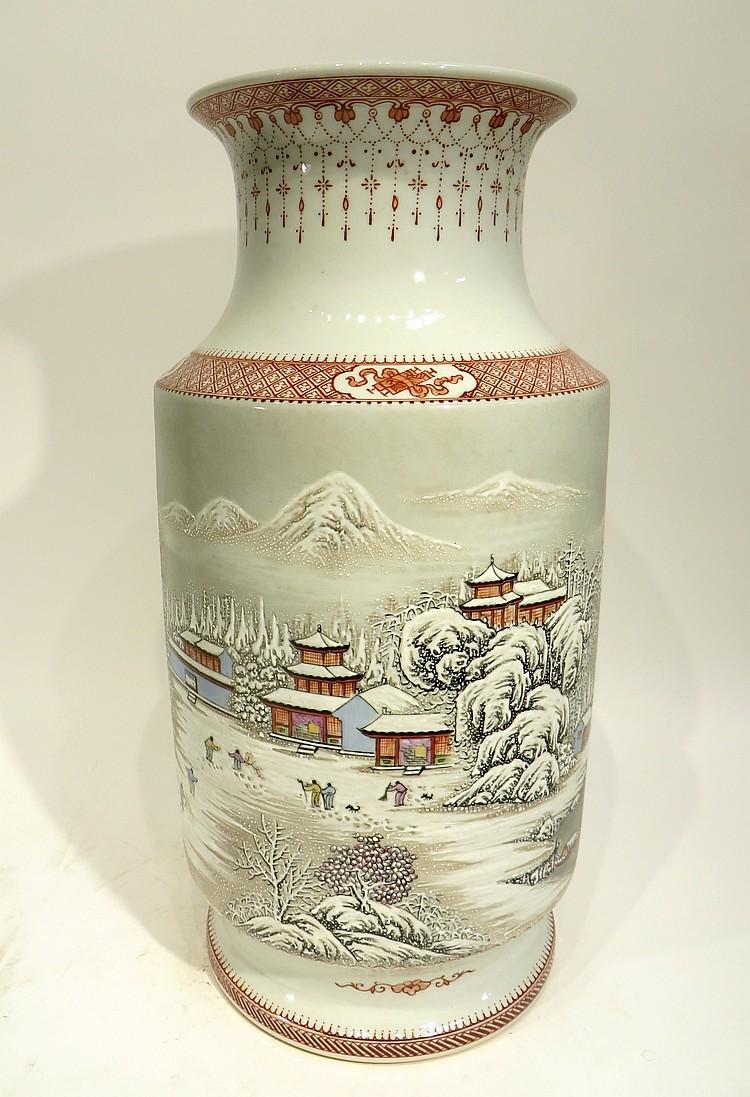 CHINESE YU WENXIANG SNOW SCENE VASE