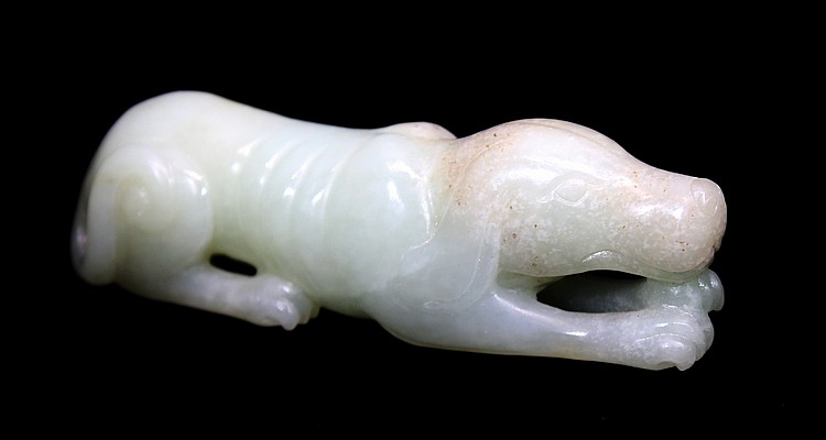 CHINESE WHITE JADE DOG