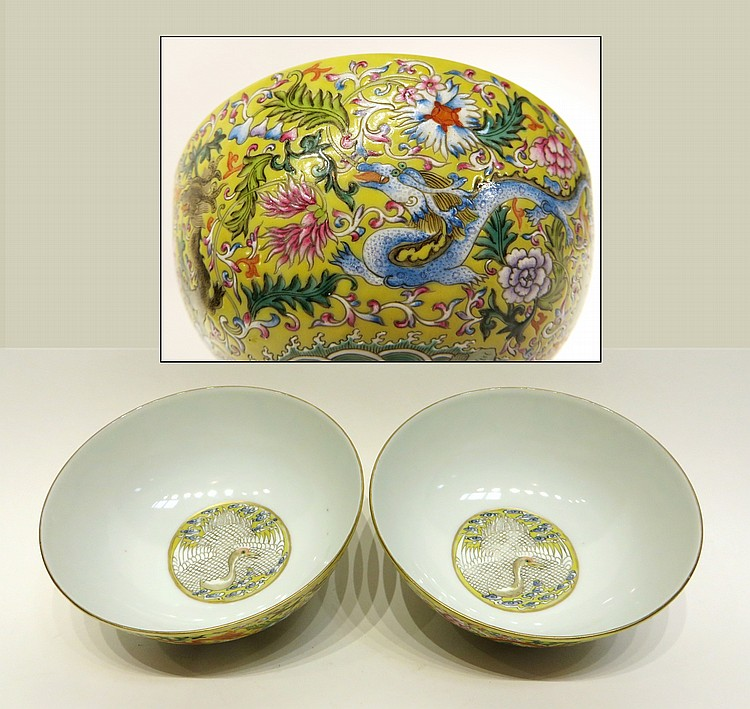 PAIR OF QIAN LONG FAMILLE JAUNE DRAGON BOWLS