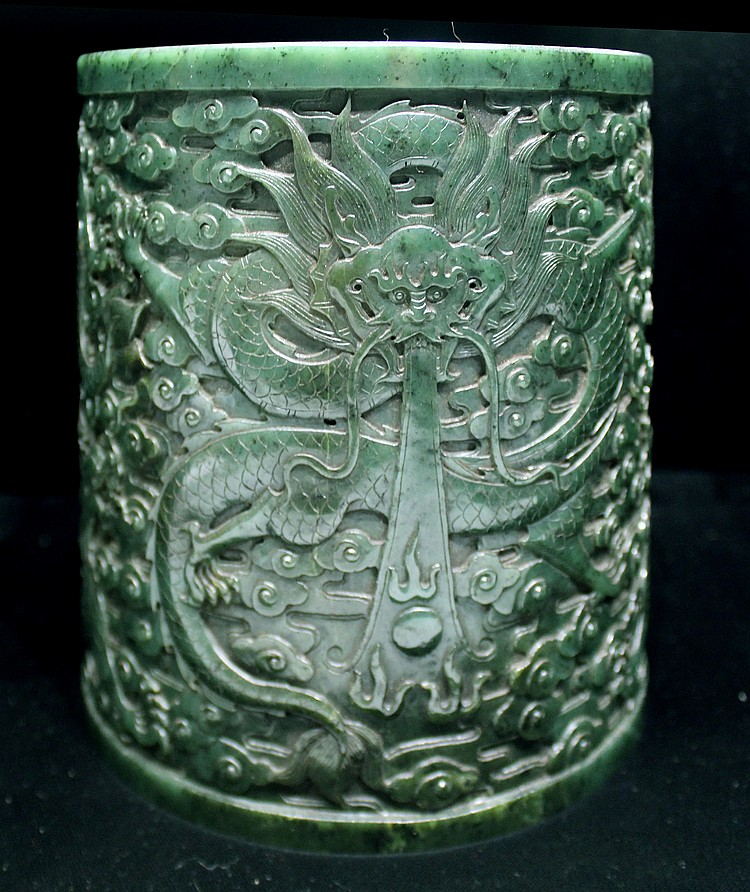 CHINESE GREEN JADE BRUSH POT