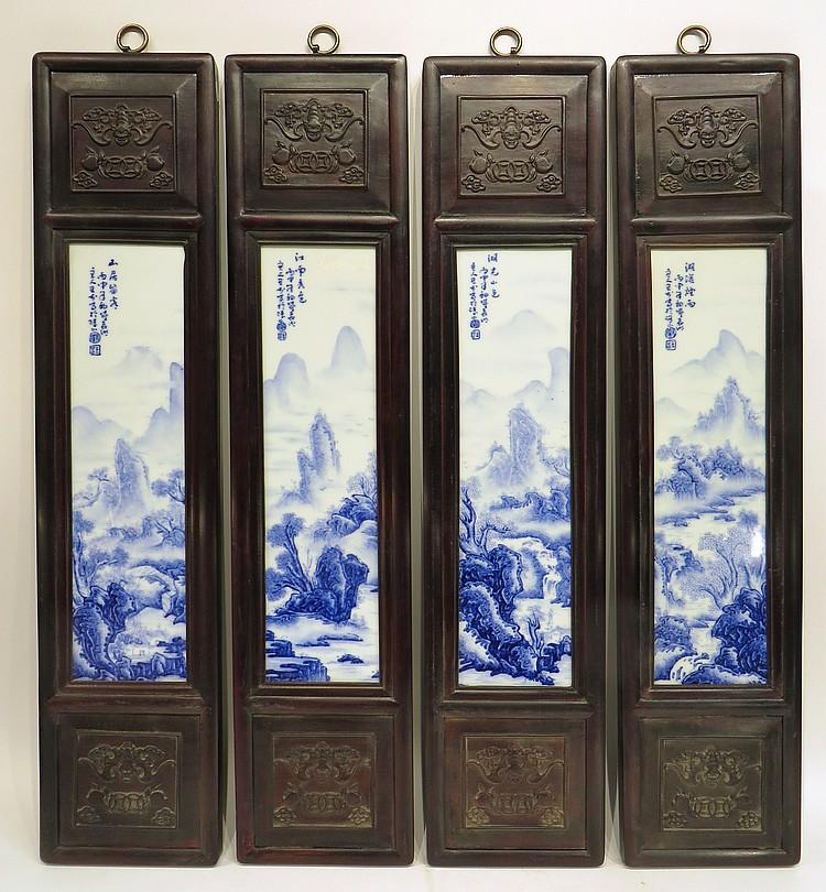 FOUR WANG BU BLUE & WHITE PORCELAIN PANELS
