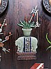 HARDWOOD AND JADE GOURD SHAPED TABLE SCREEN