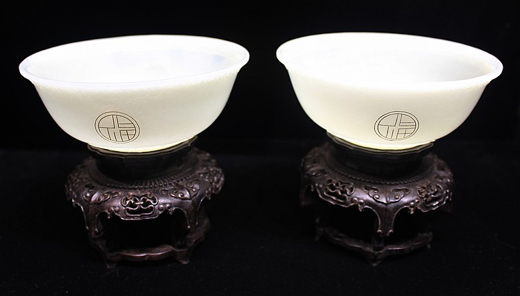 IMPORTANT PAIR OF WHITE JADE BOWLS ON STANDS
