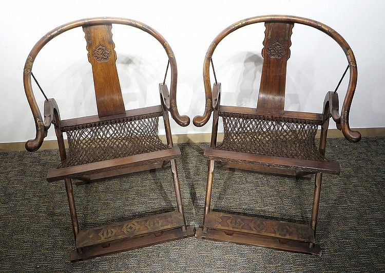 PAIR OF CHINESE HUANGHUALI JIAO YI CHAIRS