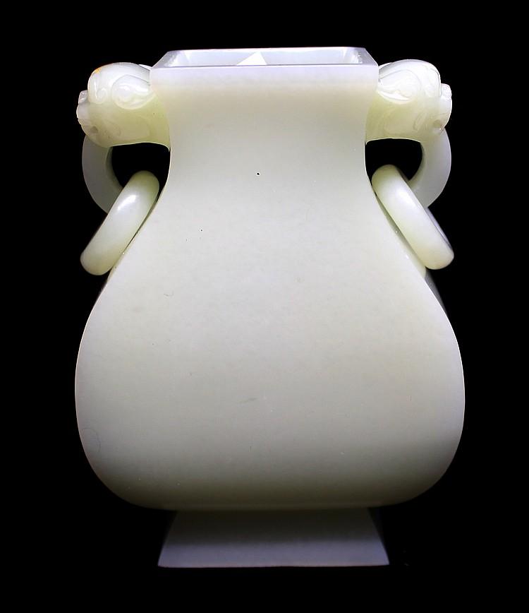 CHINESE WHITE JADE ZUN VASE