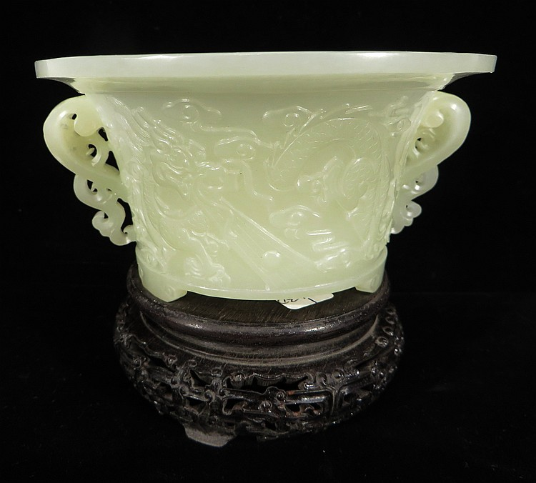 CHINESE WHITE JADE DRAGON CENSER ON STAND
