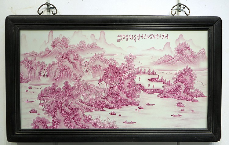 CHINESE PINK AND WHITE PORCELAIN PLAQUE