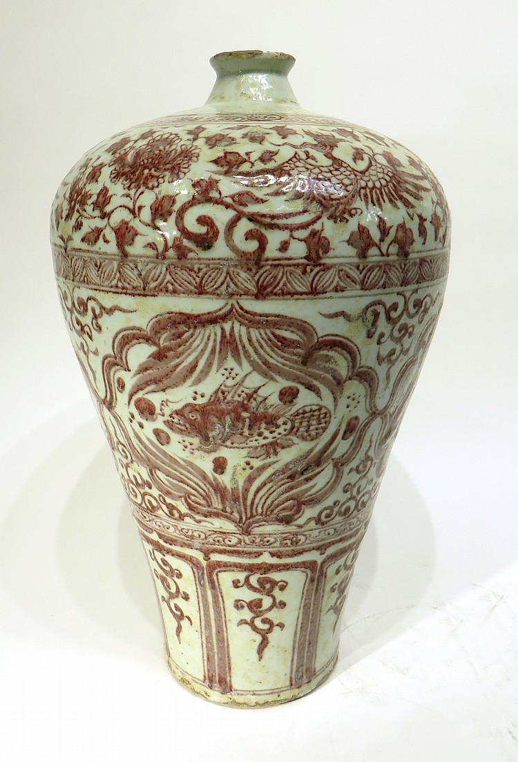 CHINESE MING MEI PING RED AND WHITE VASE