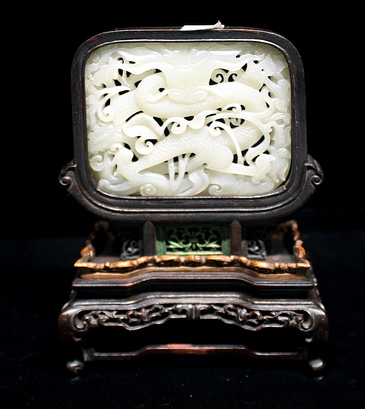 CHINESE WHITE JADE DRAGON TABLE SCREEN