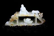 CHINES WHITE JADE BRIDGE SCENE ON STAND