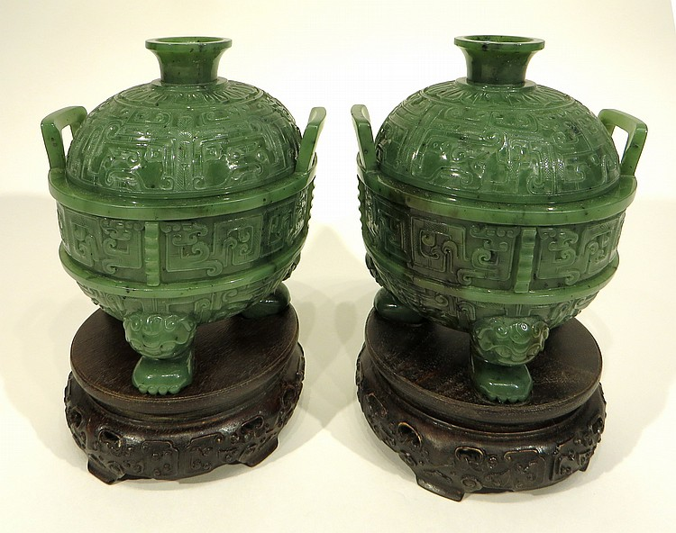 CHINESE PAIR OF GREEN JADE CENSERS ON STANDS
