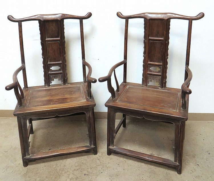 PAIR OF CHINESE HUANG HUA LI OFFICER CHAIRS