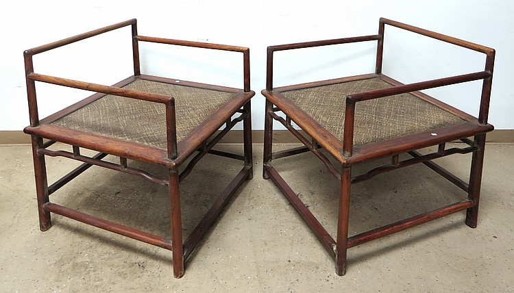PAIR OF CHINESE HUANG HUA LI BUDDHA CHAIRS