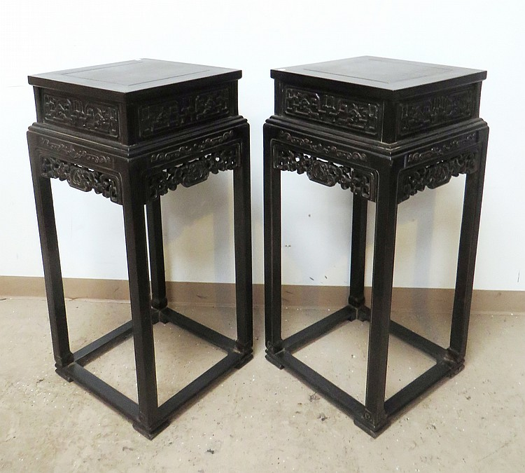 PAIR OF CHINESE ZITAN FLOWER STANDS